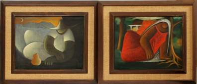 VICTOR MANUEL CANCINO OILS ON CANVAS PAIR