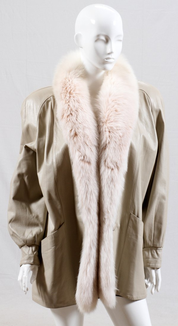 LADIES LEATHER AND FOX JACKET