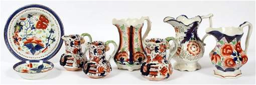 GAUDY DUTCH PORCELAIN PITCHERS CREAMERS AND PLATES