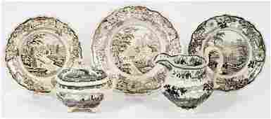 TRANSFER-DECORATED STAFFORDSHIRE POTTERY GROUP
