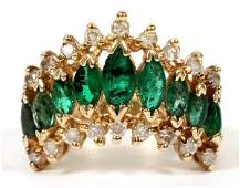 14 KT YELLOW GOLD  EMERALD  DIAMOND RING