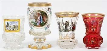 BOHEMIAN GLASS BEAKERS AND VASES 19THC 4 PCS