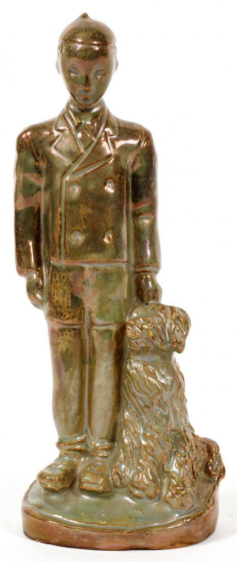 PEWABIC IRIDESCENT POTTERY FIGURE BY GWEN LUX