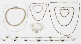 STERLING SILVER NECKLACES AND BRACELETS 10 PIECES