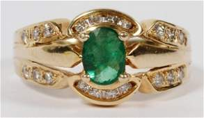 LADYS 14 KT GOLD EMERALD AND DIAMOND RING