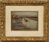HENRI LE SIDANER OIL ON BEVELED WOOD PANEL