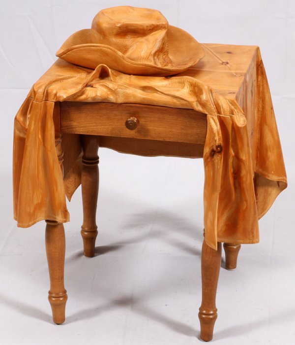 LIVIO DIMARCHI WOOD SCULPTURE TABLE W/ HAT