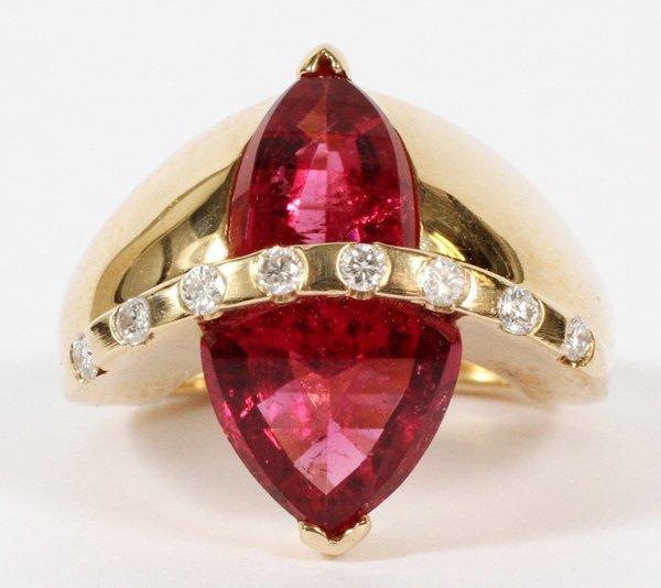 GOLD RING W/ TWO KITE SHAPED RUBIES DIAMONDS