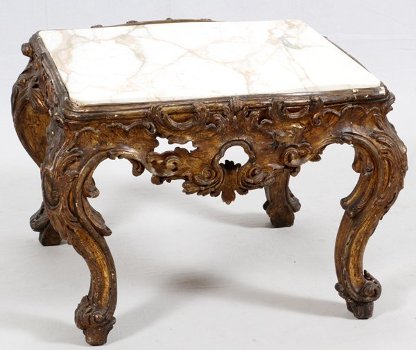 ITALIAN CARVED WALNUT TABLE W/ MARBLE TOP