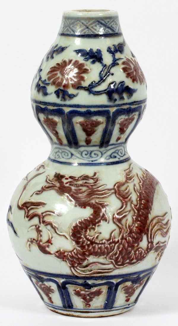 CHINESE DRAGON AND FLORAL PORCELAIN VASE 13
