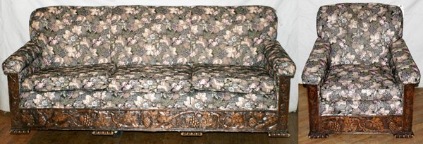 060004: CARVED OAK & UPHOLSTERED SOFA & CHAIR