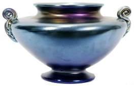 061001: L. C. TIFFANY BLUE FAVRILE GLASS VASE, 1913