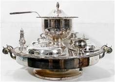 061019 SILVER PLATE LAZY SUSAN W HOT WATER BASE