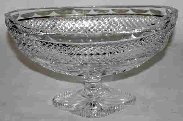 """WATERFORD CUT CRYSTAL COMPOTE, C. 1920, H 6"""""""