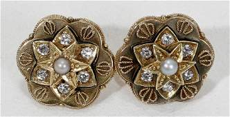 061148 VICTORIAN GOLD DIAMOND  SEED PEARL EARRINGS