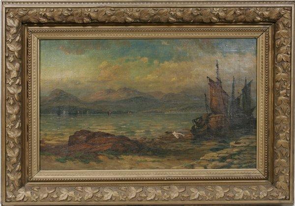 062003: ROBERT HOPKIN OIL ON CANVAS, MOORED SAILBOATS