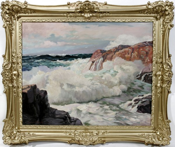 062012: FREDERICK WAUGH OIL ON MASONITE, WAVES