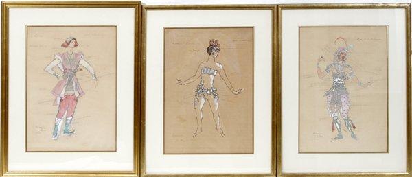 062013: CONSTANTINE KORVINE WATERCOLOR BALLET COSTUMES