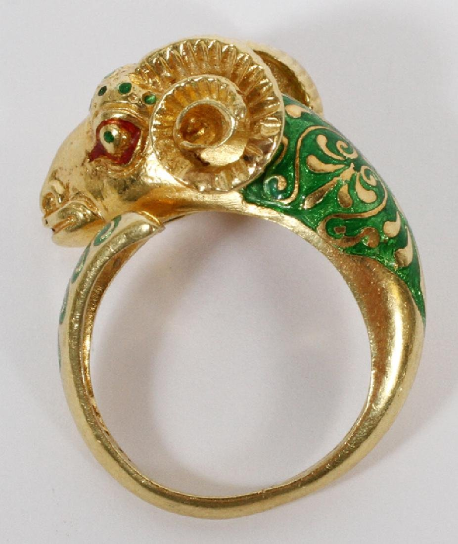 18KT YELLOW GOLD AND ENAMEL RAM'S HEAD RING