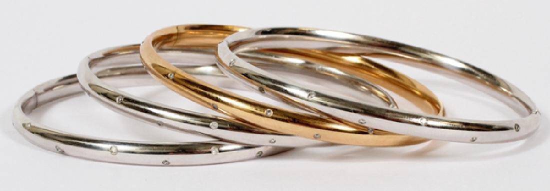 14KT WHITE AND YELLOW GOLD DIAMOND BANGLE BRACELETS