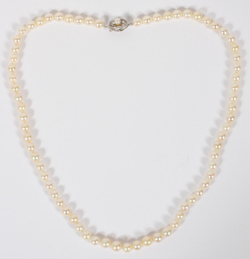 14 KT WHITE GOLD DIAMOND AND 7MM DIA PEARL NECKLACE
