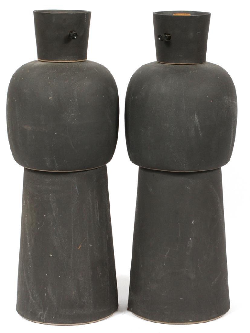 MARTZ BLACK MATTE POTTERY LAMPS PAIR