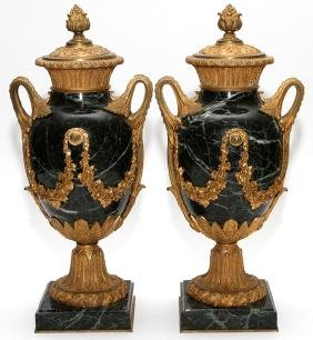 D'ORE BRONZE AND GREEN MARBLE URNS PAIR