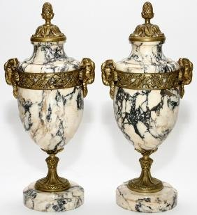 MARBLE AND BRONZE CASSOULET 19TH CENTURY PAIR