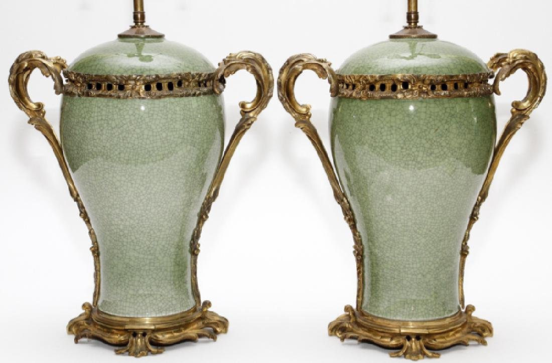 CHINESE GLAZED CELADON URNS MOUNTED AS LAMPS