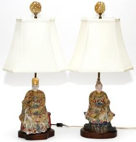 CHINESE POLYCHROME FIGURES MOUNTED AS LAMPS PAIR