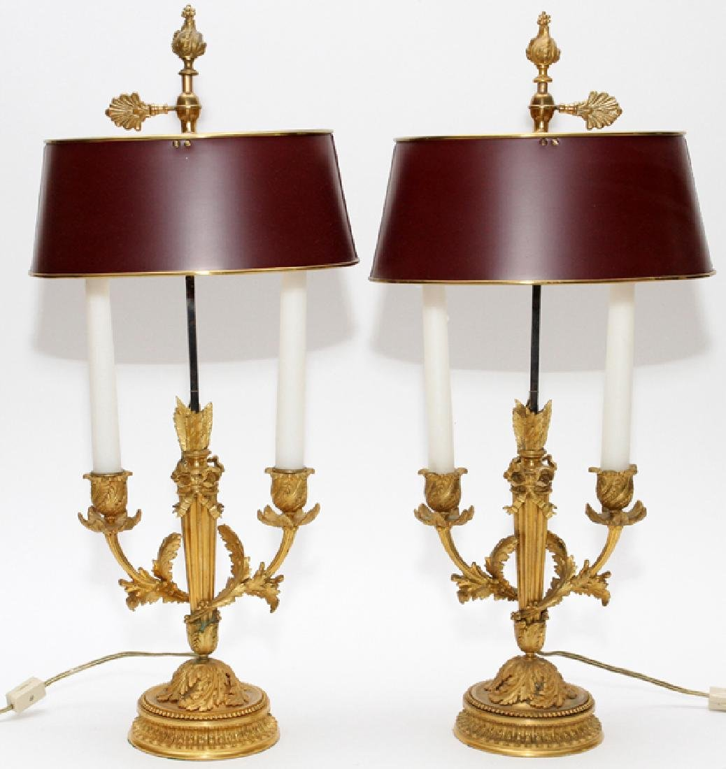 FRENCH D'ORE BRONZE TWO LIGHT BOULLIOTTE PAIR