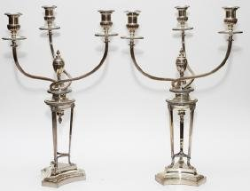 THREE LIGHT SILVERPLATED CANDELABRA EARLY 19TH C.