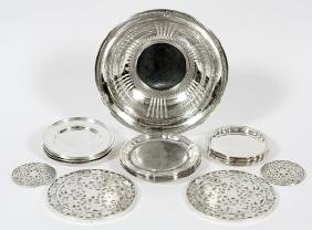 AMERICAN & GERMAN STERLING PLATES DISH AND TRIVETS