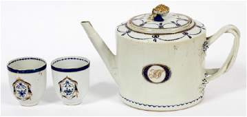 CHINESE EXPORT TEA POT & CUPS 18TH.C. 3 PIECES