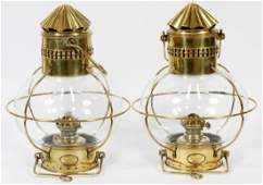 BRASS SHIPS LANTERNS 19TH C PAIR