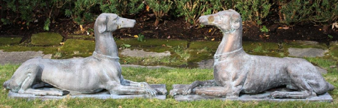 BRONZE WHIPPET GARDEN SCULPTURES PAIR