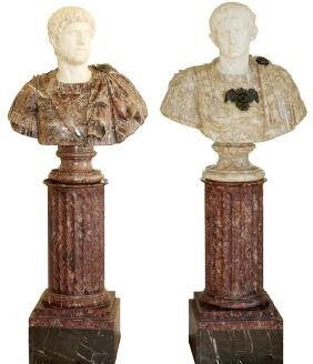 ITALIAN CARVED MARBLE BUSTS ON COLUMNS PAIR
