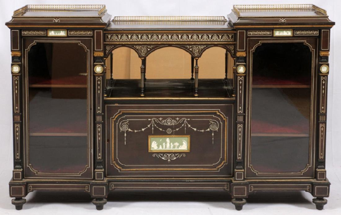 ENGLISH EBONIZED CURIO CREDENZA