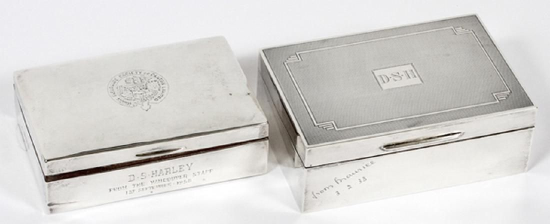 BRITISH STERLING HINGED BOXES W/ WOOD LINERS