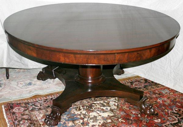 070003: EMPIRE STYLE MAHOGANY DINING TABLE W/ PAW FEET
