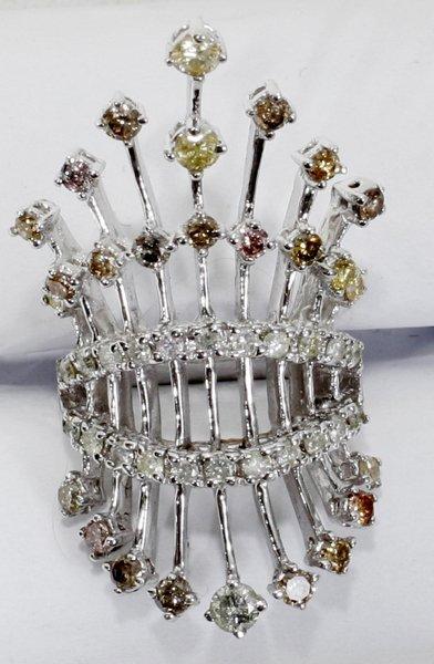 070017: 2CT T/W MULTI-COLOR DIAMOND & 18KT GOLD RING