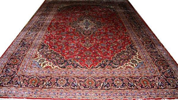 """070024: KASHAN, PERSIAN WOOL CARPET, 9' 7""""x13' 4"""""""