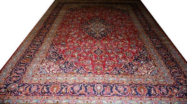"""070025: KASHAN, PERSIAN WOOL CARPET, 9' 6""""x13' 6"""""""