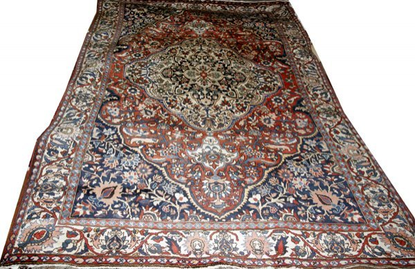 """070026: PERSIAN RUG, W/ FLORAL BACKGROUND, 6'x10""""10'"""