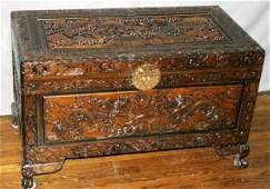 070239 CHINESE CAMPHOR WOOD  BRASS CHEST 20TH C