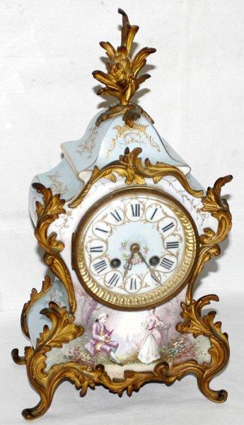 071003: JAPY FRERES FRENCH ENAMEL CHIMING MANTEL CLOCK