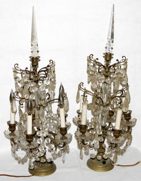 """071005: FRENCH BRONZE & CRYSTAL ELECTROLIERS, H 30"""""""