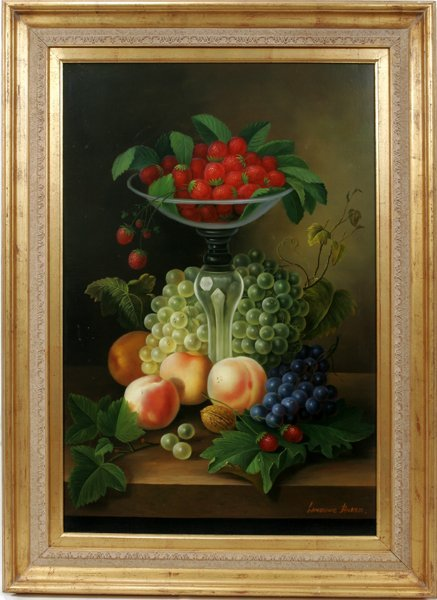 072004: LAWRENCE BAKER OIL ON CANVAS, STILL FRUIT