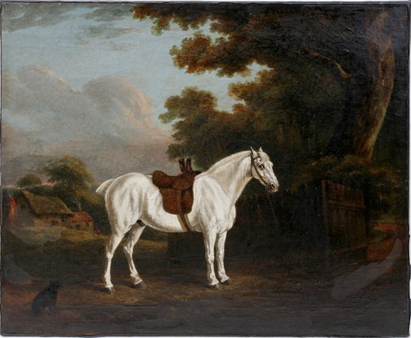 072008: ENGLISH SCHOOL OIL ON CANVAS, 'WHITE STALLION'