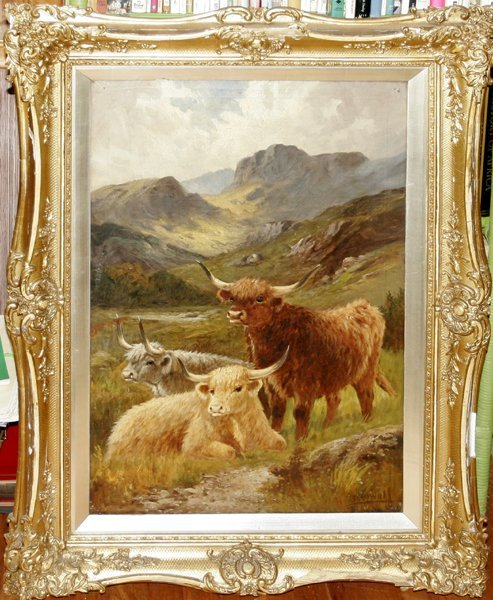 072010: CHARLES OSWALD OIL ON CANVAS, HIGHLAND/SHEEP